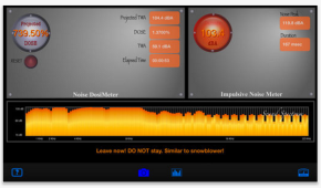 A screenshot of the app SoundMeter+ in action - notice the recommendations given at the bottom.